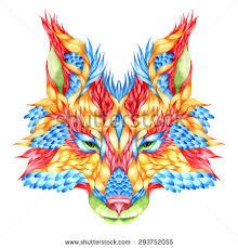 fox head tattoo psychedelic stock illustration 192889382