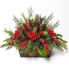 floral arrangement floral home decor pine and berry christmas floral arrangement
