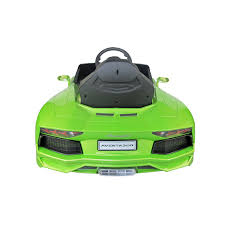 Green Lamborghini Aventador - lamborghini aventador kids 6v electric ride on toy car w parent