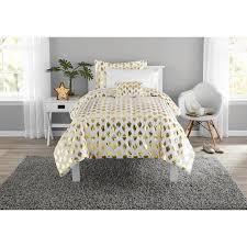 Gold Bed Set Mainstays Gold Dot Bed In A Bag Comforter Set Walmart