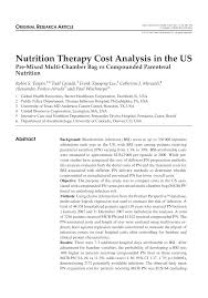 nutrition therapy cost analysis in the us pre mixed multi chamber