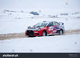 mitsubishi rally car utena january 30 mitsubishi lancer evo stock photo 357663338