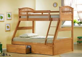 two floor bed wooden bunk bed with storage on the bottom plus gray