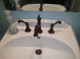 Bathroom With Bronze Fixtures Faucet Handle Cleanup Suggestions For Hardwater Deposits Hometalk