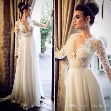 chiffon wedding dress discount v neck wedding dresses with sleeves