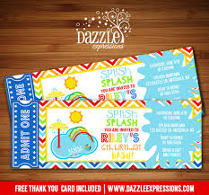printable kids pool party splash pad ticket birthday invitation