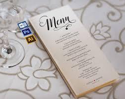 menu template wedding wedding menu template wpc 128 invitation templates creative market