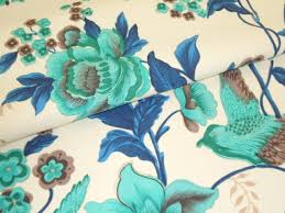 Blue Home Decor Fabric Eclan Color Turquoise Floral With Birds Home Decor Fabric