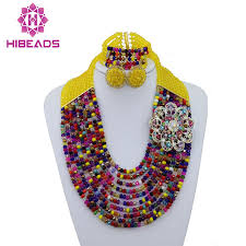 coloured beads necklace images Fashion multicolor beads bridal jewelry sets nigerian wedding jpg