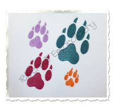 small wolf paw print machine embroidery design