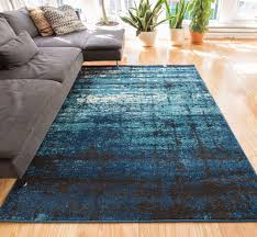 Modern Stripe Rug by Longlac Blue Modern Distressed Stripe Weathered Contemporary