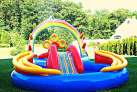 backyard inflatable pool slide backyard design ideas
