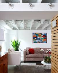 corrugated metal ceiling basement kitchen contemporary with white