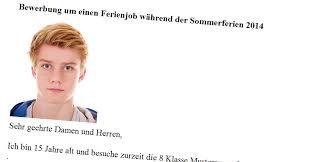 Bewerbungsschreiben Ferienjob Beispiel bewerbung um einen ferienjob inkl muster eines bewerbungsschreibens