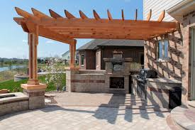 fascinating outdoor kitchen design under wooden canopy as well