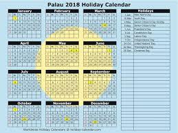 palau 2017 2018 calendar