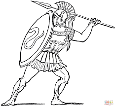 ancient greek soldier coloring page free printable coloring pages