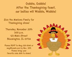 gobble turkey thanksgiving dinner invitation