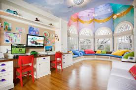 High Window Seat - inspiring kids room design showcasing colorful study areas with