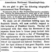 bill milhomme 1863 proclamation declared thanksgiving a national