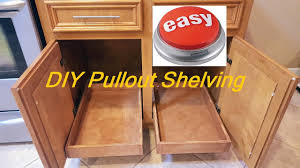How To Make Pull Out Drawers In Kitchen Cabinets Diy Pull Out Sliding Shelving Easy Youtube