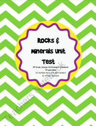 rocks minerals unit test from copelands got class in 3rd on