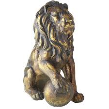Outdoor Lion Statue by Bronze Lion Statues With Paw On Ball Pier 1 Imports