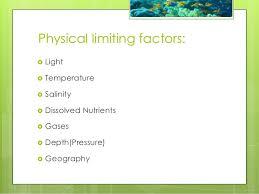 marine ecology physical limiting factors