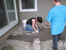 Sand For Patio Pavers by Exterior How To Lay Pavers Using Sand With Wood Painted Wall And