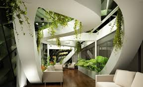 wallpaper living room design high tech modern plants light