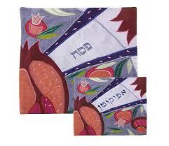 afikomen cover yair emanuel silk applique matzah cover afikoman bag crowned