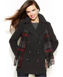 london fog double breasted scarf pea coat in gray lyst