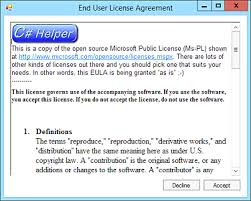 display an end user license agreement eula in c helperc ripping