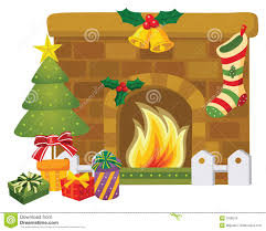 christmas fireplace stock vector image of evening home 7028543