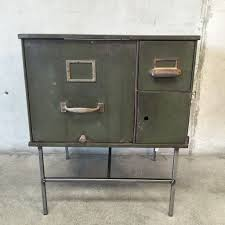 repurposed military file cabinet nightstand industrial file