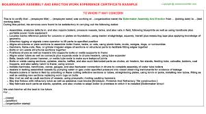Boilermaker Resume Template Boilermaker Assembly And Work Experience Certificate