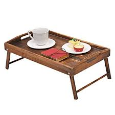 breakfast in bed table amazon com country rustic torched wood food serving tray breakfast