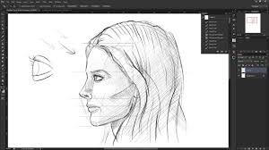 how to draw the female face side view drawing the human head from