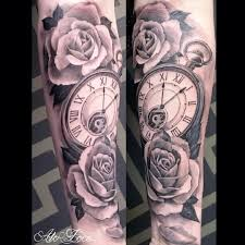 flower tattoos on forearm black and gray half sleeve tattoos clocks google search