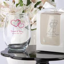wedding favor glasses personalized 9 oz stemless wedding wine glasses