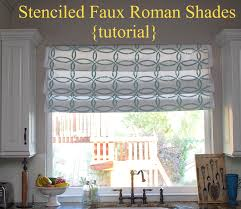 stenciled faux roman shades tutorial kitchen sneak peek