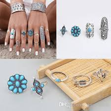 midi ring set vintage midi rings moon arrow ring set ethnic carved finger