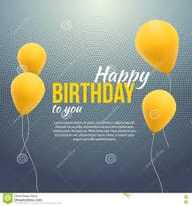 happy birthday poster background with yellow balloons and text
