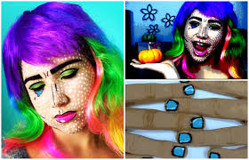 Pop Art Halloween Costume Pop Art Cartoon Makeup U0026 Nails Easy Minute Halloween Costume