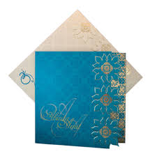 indian wedding cards in usa indian wedding card in blue with flower pattern