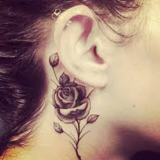 tattoo neck ear rose flower woman uncategorized tattoos best tats