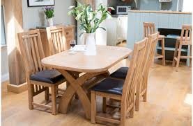 furniture 5 piece dining set of oak cross leg dining table and