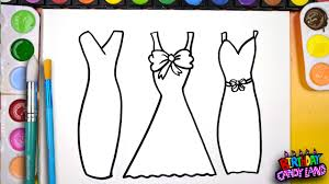 draw color paint 3 pretty dress coloring kids