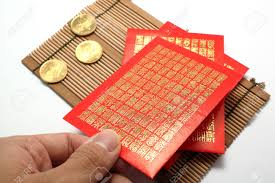 lunar new year envelopes envelopes and coins for new year stock photo picture