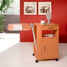 bedside table on casters with integrated over bed table